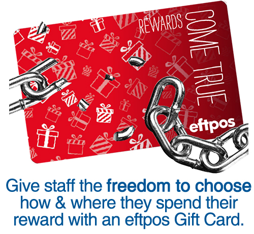 Give staff the freedom to choose with an eftpos gift card